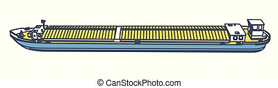 River transport ship. Outlined freight long motor boat. Shipping on water