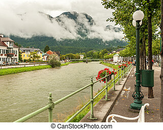 River Traun in Bad Ischl on a cloudy day