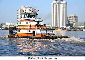 A river work horse on the Mississippi in New Orleans