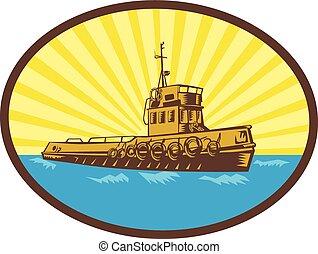 River Tugboat Oval Woodcut - Illustration of a tugboat...