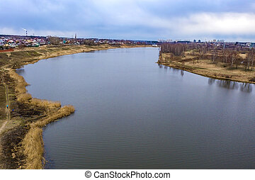 River Uvod in the city of Ivanovo on a spring cloudy day.
