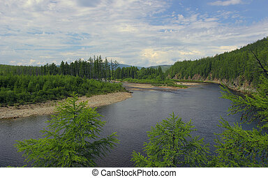 River Valley Chulman in South Yakutia day