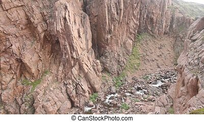 river  valley deeply among rocks Scandinavia