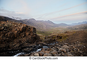River valley in Iceland. Mountain view. The North Of Iceland