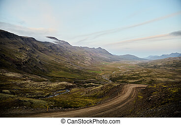 River valley in Iceland. Mountain view. The North Of Iceland.