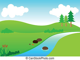 River View - Stock vector of river scenery