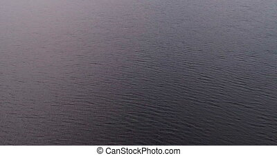 River Volga aerial view quadcopter. Landscape panorama....