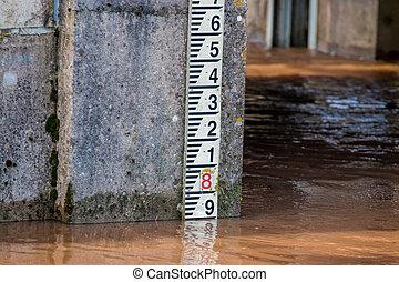 River Water Level Marker Gauge