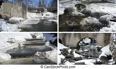 river waterfall cascade retro bridge frozen ice icicles winter