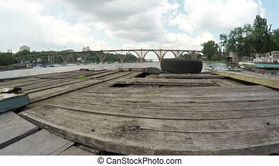 River wharf - Camera movement on river Dnieper River berth