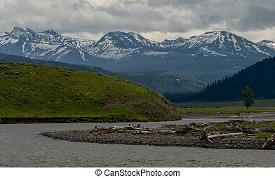 River Winds Through Lamar Valley with snoyw mountains behind
