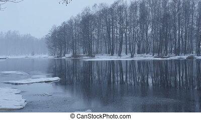 river winter landscape zoom out