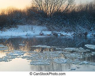 river winter on sunset