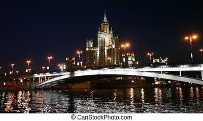 river with bridge and Skyscraper on Kotelnicheskaya Enb in Moscow