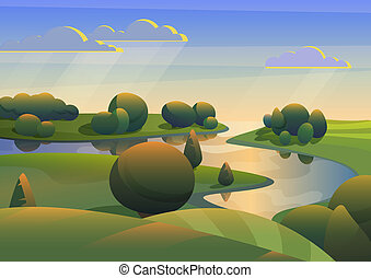 River with green meadows hills landscape vector illustration.
