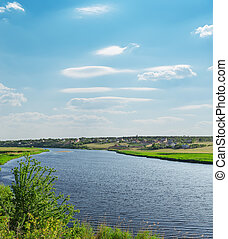 river with green riverside and light cloudy sky