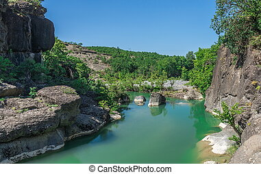 river with green water in Greece