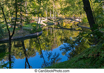river with reflection of trees and bridge