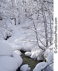 river with white snow