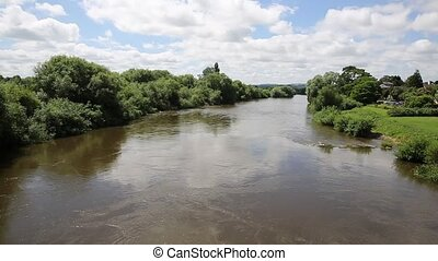River Wye in Ross-on-Wye uk - River Wye running through...