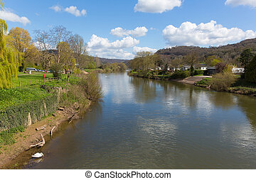 River Wye Monmouth Wales UK in the Wye Valley view from the...