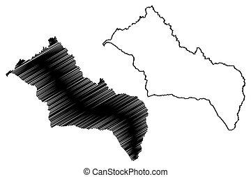 Rivera Department (Departments of Uruguay, Oriental Republic of Uruguay) map vector illustration, scribble sketch Rivera map