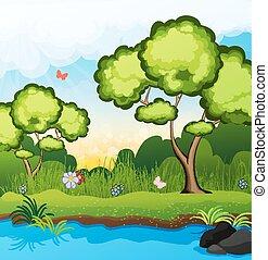 riverbank, arbres