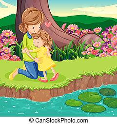 riverbank, dochter, het koesteren, haar, moeder