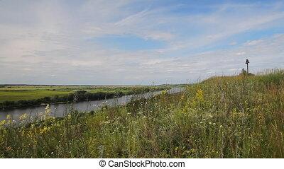 """Riverbank landscape - """"Oka"""" river, Ryazan area, Russia."""