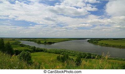 Riverbank landscape timelapse