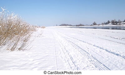 riverbank, the end of winter. Volkhov river