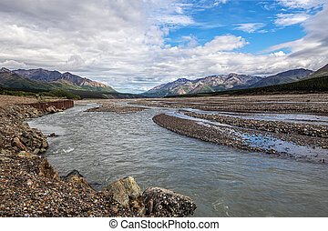 Shallow water in this riverbed in Denali National Park in Alaska.
