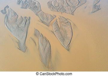 riverbed patterns from above,  the black river in Inner Mongolia, China