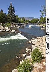 Riverflow in downtown Reno NV. - Riverflow rocks and...