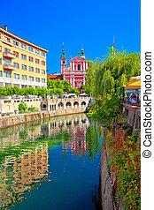 riverfont, 都市, 歴史的, 光景, ljubljana