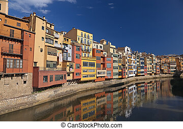 Riverfront in Girona, Catalonia