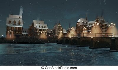 Riverfront of cozy medieval town with half-timbered european houses and stone bridge above frozen river lit by street lights at winter night during snowfall. With no people 3D animation rendered in 4K