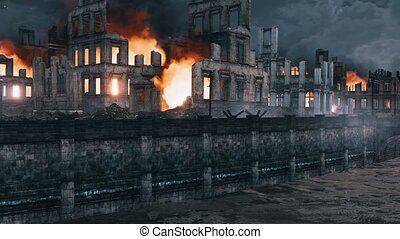 Destroyed after World War 2 abandoned european city with burning building ruins along the empty riverfront at night. With no people historical military 3D animation rendered in 4K