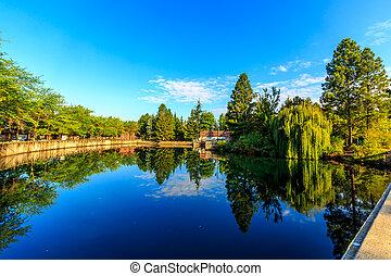Pond of Riverfront park at downtown Spokane, Washington