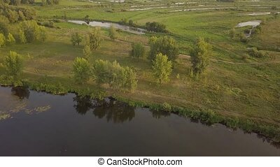 Riverland lake river - Backwater aerial view - green...