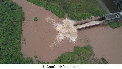 river's, aérien, barrage, rai, chiang, vue