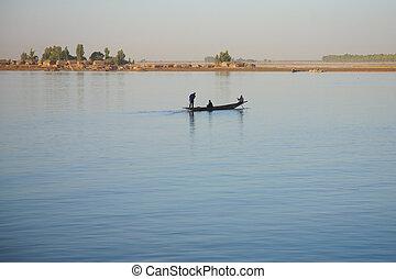 Romantic atmosphere at river Niger in Mopti - Mali.