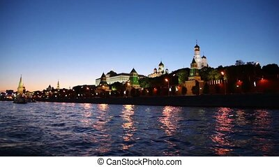 Riverside and red brick walls of Moscow Kremlin and Ivan Great Bell Tower