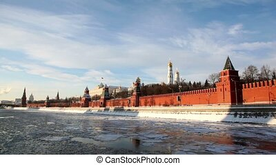 Riverside and walls of Moscow Kremlin and Ivan Great Bell...
