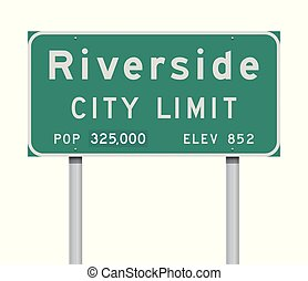 Riverside City Limit road sign - Vector illustration of the...