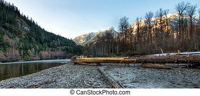 riverside, floresta, com, neve, montanhas