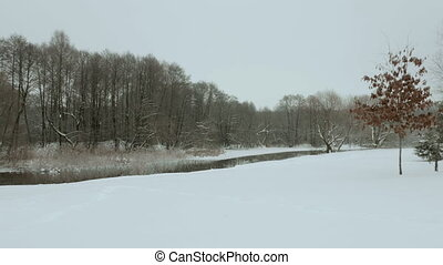 Riverside in the winter. Used professional gimbal...