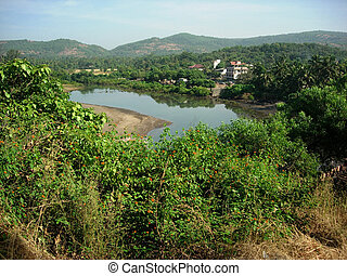 Riverside Landscape - Riverside View situated in Distant...