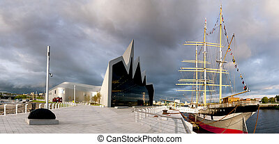 riverside, museu, e, navio alto, em, glasgow