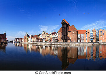 Riverside of Gdansk - The riverside with the characteristic...